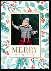 botanical shimmer christmas card