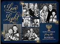 flourished love and light hanukkah card 5x7 flat