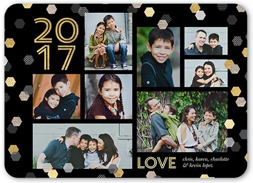 Hexagon Confetti New Year's Card