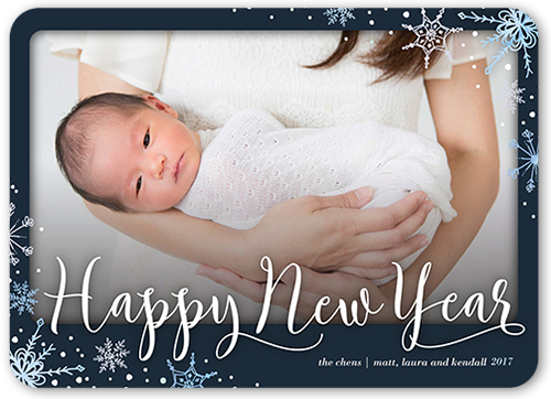 Elegant Snow Crystals New Year's Card