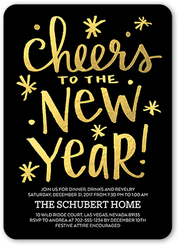 Festive Cheers New Year's Invitation, Rounded Corners