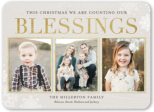 Counting Framed Blessings Religious Christmas Card, Rounded Corners