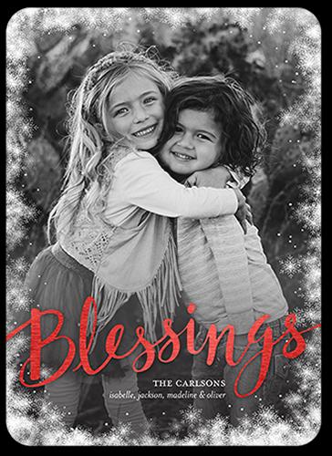 Snowfall Blessings Religious Christmas Card, Square
