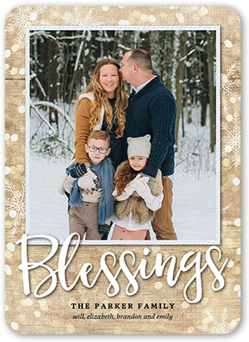 Simple Bokeh Blessings Religious Christmas Card, Square