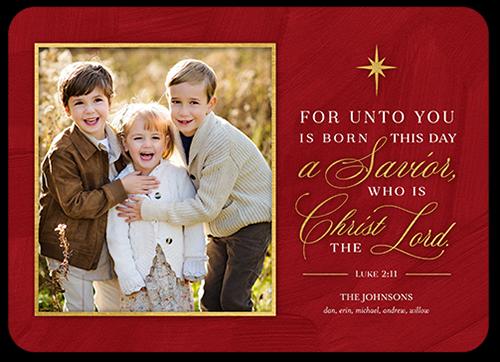Star Burst Savior Religious Christmas Card, Rounded Corners