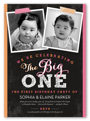 Double Joy Twin Birthday Invitation, Square Corners