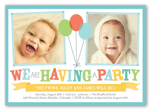 bright balloons twin birthday invitation shutterfly