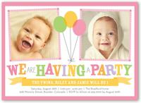 bright balloons twin birthday invitation 5x7 flat