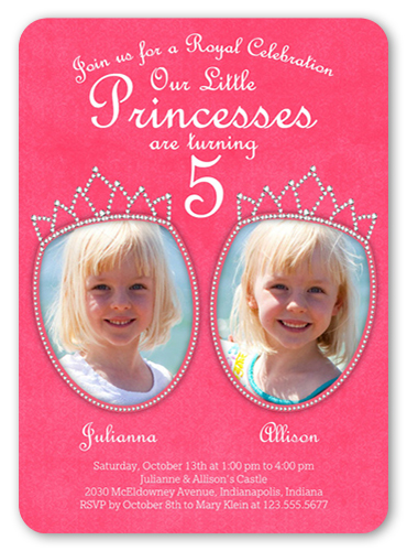 Little Princesses Twin Birthday Invitation, Rounded Corners