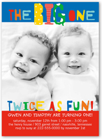 twin birthday invitations & custom twin birthday invites | shutterfly, Birthday invitations