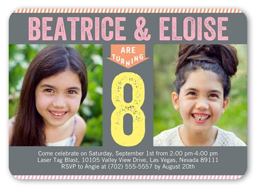 Chalkboard Birthday Twin Birthday Invitation, Rounded Corners