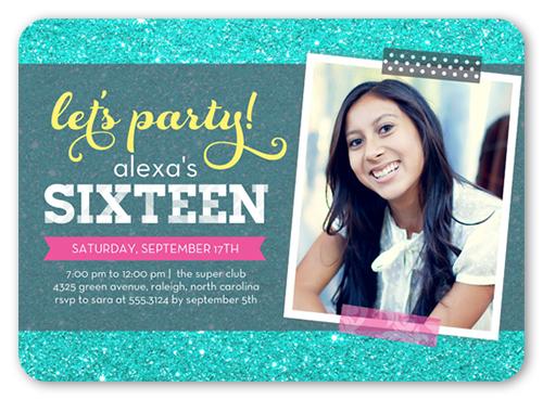 Party Glitter Teenage Birthday Party Invitations Shutterfly