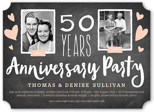 Chalkboard Heart Years 5x7 Wedding Anniversary Invitation Card by