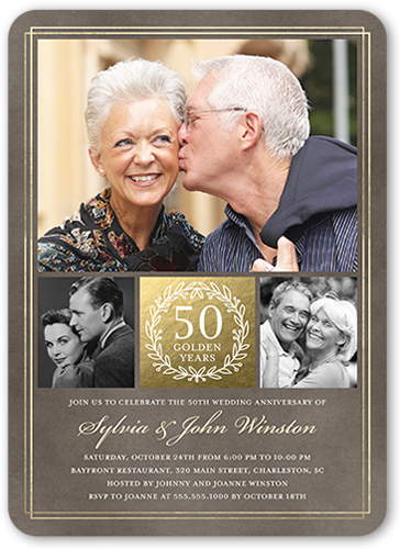 The Golden Years 5x7 Wedding Anniversary Invitations Shutterfly