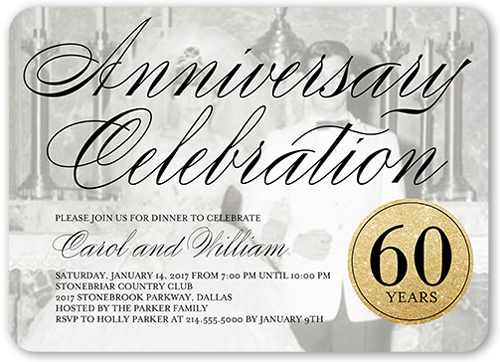 Scripted Celebration 5x7 Anniversary Party Invitations Shutterfly