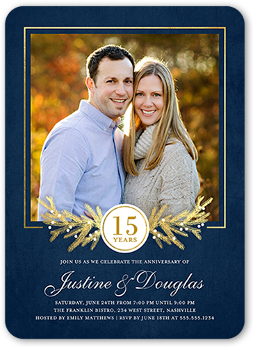 Gilded Branches Wedding Anniversary Invitation, Rounded Corners