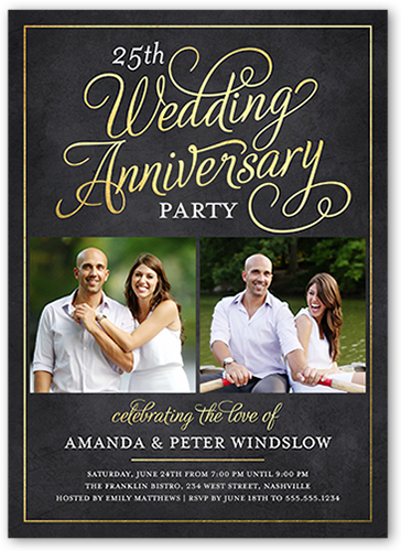 25th wedding anniversary invitations shutterfly scrolled script wedding anniversary invitation stopboris Image collections