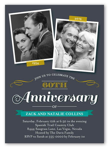Sweet Times Wedding Anniversary Invitation, Square Corners