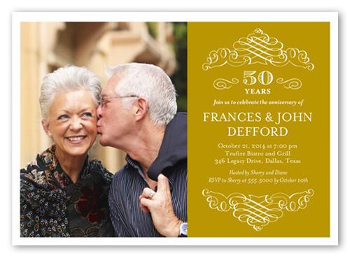Memorable Years Wedding Anniversary Invitation, Square Corners
