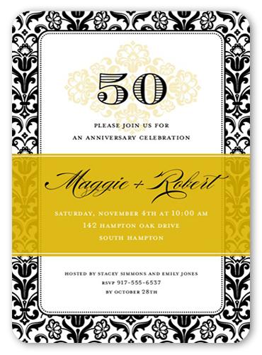 Devoted Damask Wedding Anniversary Invitation, Rounded Corners