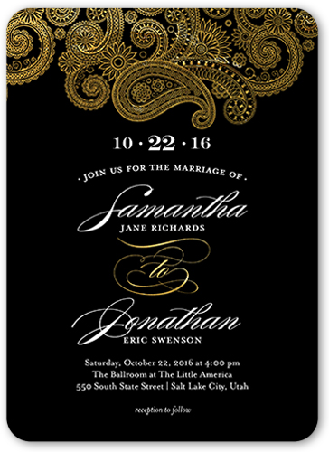 regal paisley x wedding card  wedding invitations  shutterfly, invitation samples