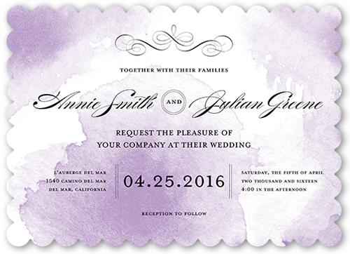 Watercolor Elegance Wedding Invitation, Scallop Corners