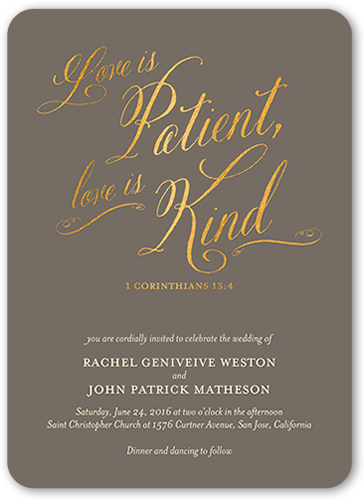 Patient And Kind Wedding Invitation, Rounded Corners