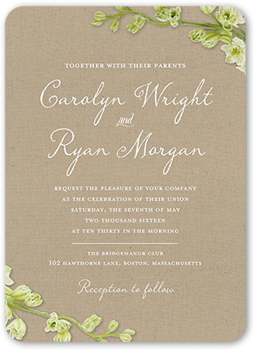 Budding Romance Wedding Invitation, Rounded Corners