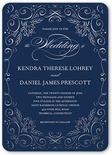 Whimsical Scrolls Wedding Invitation
