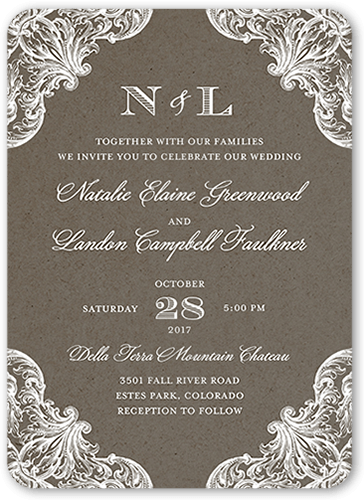 Charming Details Wedding Invitation, Rounded Corners