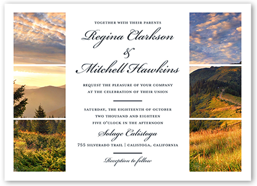 Grid Gallery Wedding Invitation, Square Corners