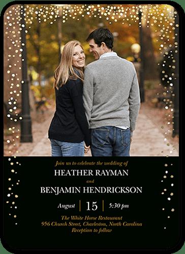 Sparkling Romance Wedding Invitation, Rounded Corners