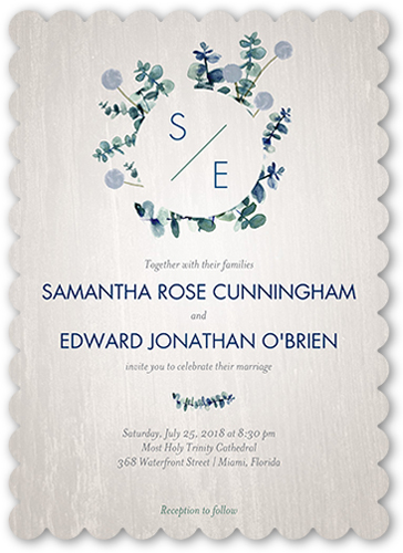 Lovely Floral Wedding Invitation, Scallop Corners
