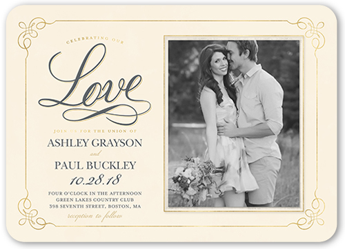 Flourishing Corners Wedding Invitation, Rounded Corners