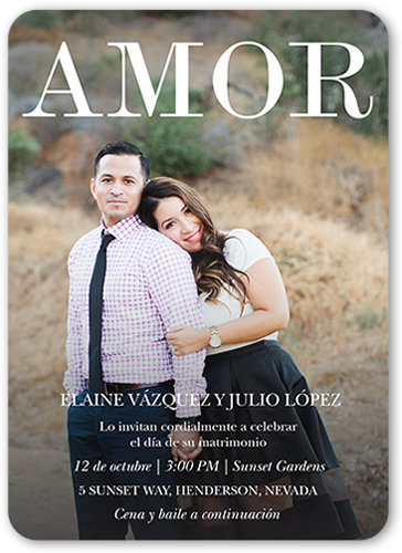 Amor A Gritos Wedding Invitation, Rounded Corners