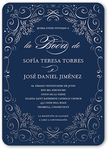 Pergamino Antojadizo Wedding Invitation, Rounded Corners