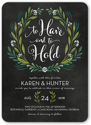 Forever Foliage Wedding Invitation, Rounded Corners