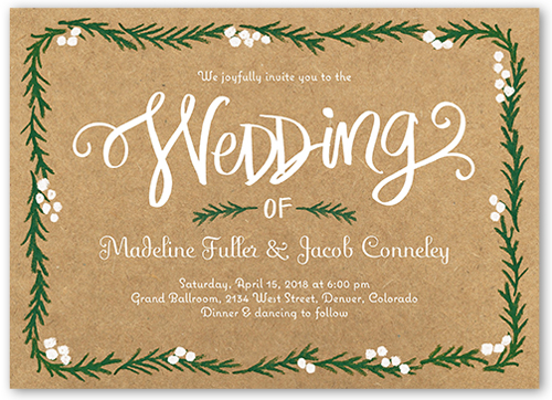 Berries And Boughs Wedding Invitation, Square Corners