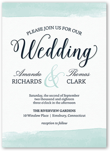 Classic Watercolor Border Wedding Invitation, Square Corners