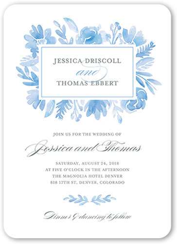 Watercolor Florals Wedding Invitation, Rounded Corners