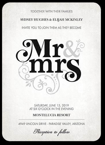 Flourish Title Wedding Invitation, Rounded Corners