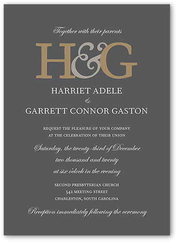 Monogram Elegance Wedding Invitation, Square Corners