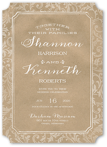 Enamored Filigree Wedding Invitation, Ticket Corners