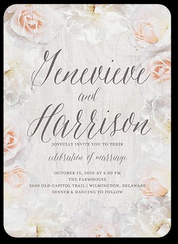 Storybook Roses Wedding Invitation, Rounded Corners