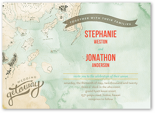 Grand Getaway Wedding Invitation, Square Corners