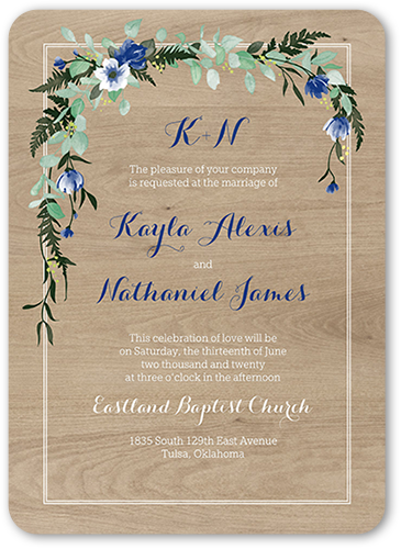 Floral Bliss Wedding Invitation, Rounded Corners