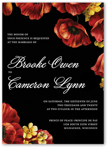 Pleasant Poppies Wedding Invitation, Square Corners