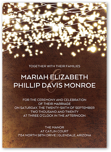 Sparkling Gala Wedding Invitation, Square Corners