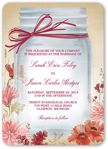 Vintage Canning Jar Wedding Invitation, Rounded Corners