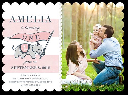 Elephant Banner Girl Birthday Invitation, Scallop Corners